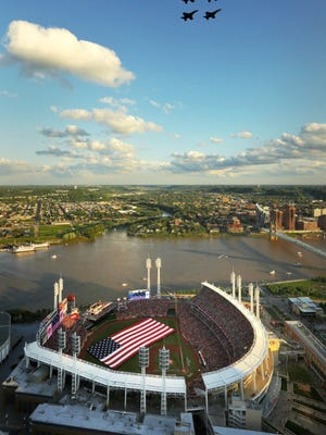 The opening ceremonies of the 2015 All-Star Game included a flyover by U.S. Navy FA-18 Super Hornets at Great American Ball Park in Cincinnati.