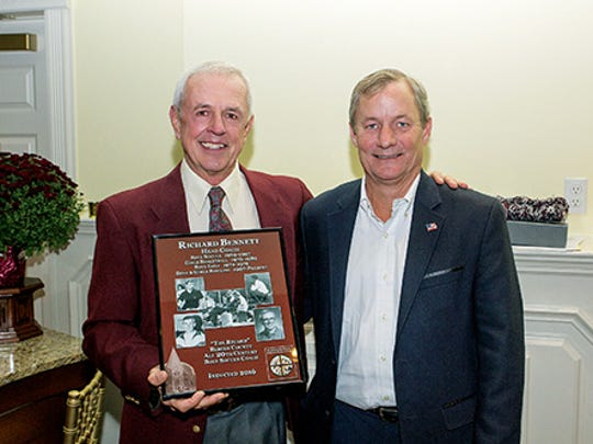 Ridgewood High School Athletic Hall of Fame Dinner. Inductee Dick Bennett with presenter Sam Cermack.