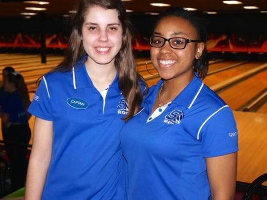 Co-captains for Salem's girls bowling team are (from left) seniors Rachel Lopez and Brynna Samuels.