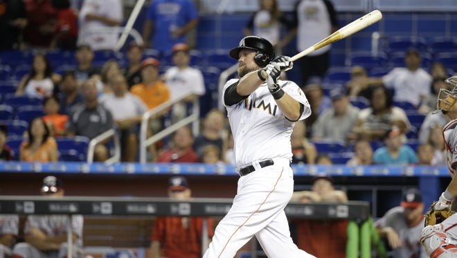 The Miami Marlins' Casey McGehee bats against the Washington Nationals on July 30, 2015, in Miami.