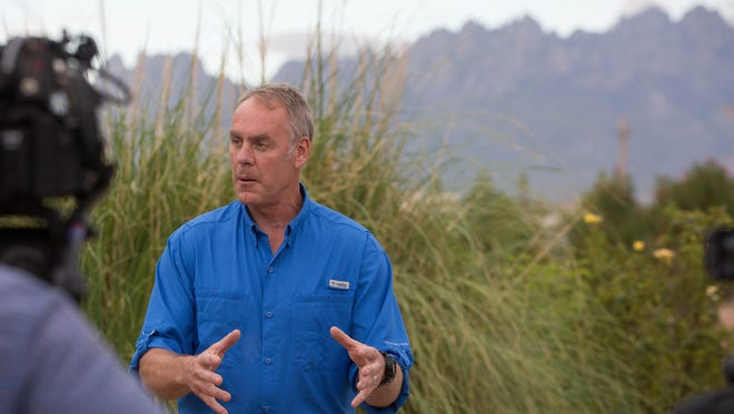 Ryan Zinke, the Secretary of the Interior, gave a press conference at the New Mexico Farm and Ranch Heritage Museum, Thursday July 27, 2017. During the press conference Zinke described some of the tour he took from the air early Thursday morning, along with comments about the review process of the Organ Mountains-Desert Peaks National Monument.