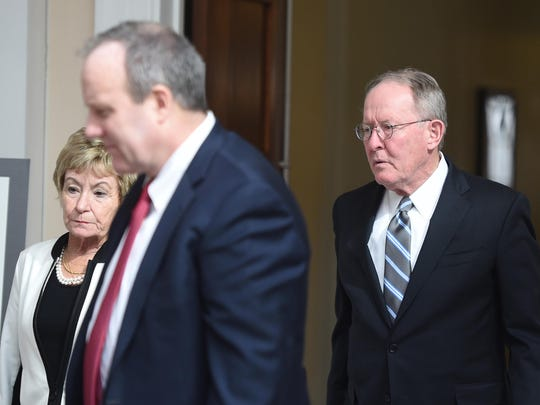 Sen. Lamar Alexander, right, and his wife, Honey, attended John Jay Hooker's visitation service at the downtown Nashville Library on Sat., Feb. 6, 2016.