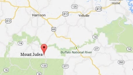 Location of Mount Judea in Newton County.