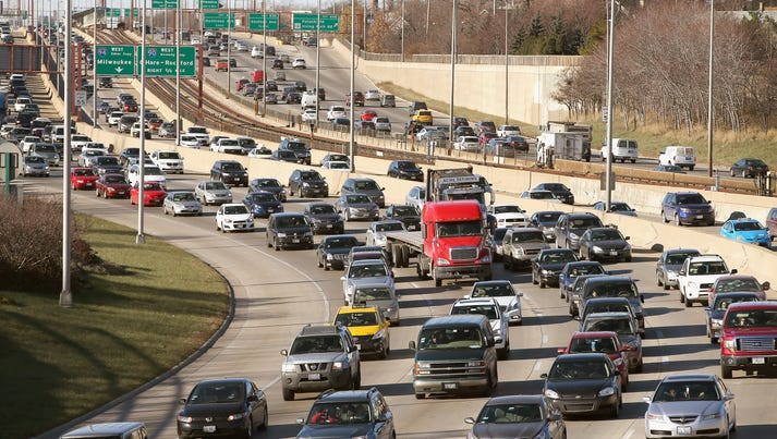 Traffic backs up on the Kennedy Expressway as commuters