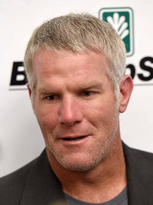 Brett Favre speaks to the media before the Mississippi Sports Hall of Fame induction ceremony Saturday evening, August 1, 2015, at the Jackson Convention Center in downtown Jackson.