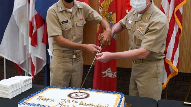 Naval Medical Center Camp Lejeune recently celebrated the 75th birthday of the Medical Services Corps with a cake cutting ceremony. The event honored the most senior and junior members, Capt. Les Riggs and Lt. j.g. Nick Peterlin.  The Medical Service Corps has active duty and reserve officers  serving health care through science, clinical support and administration.