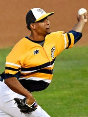 York's Edward Paredes delivers a pitch agaisnt Lancaster during Atlantic League game action in York, Pa. on Wednesday, Aug. 12, 2015. Paredes earned a win in his major-league debut with the Los Angeles Dodgers on Monday night.