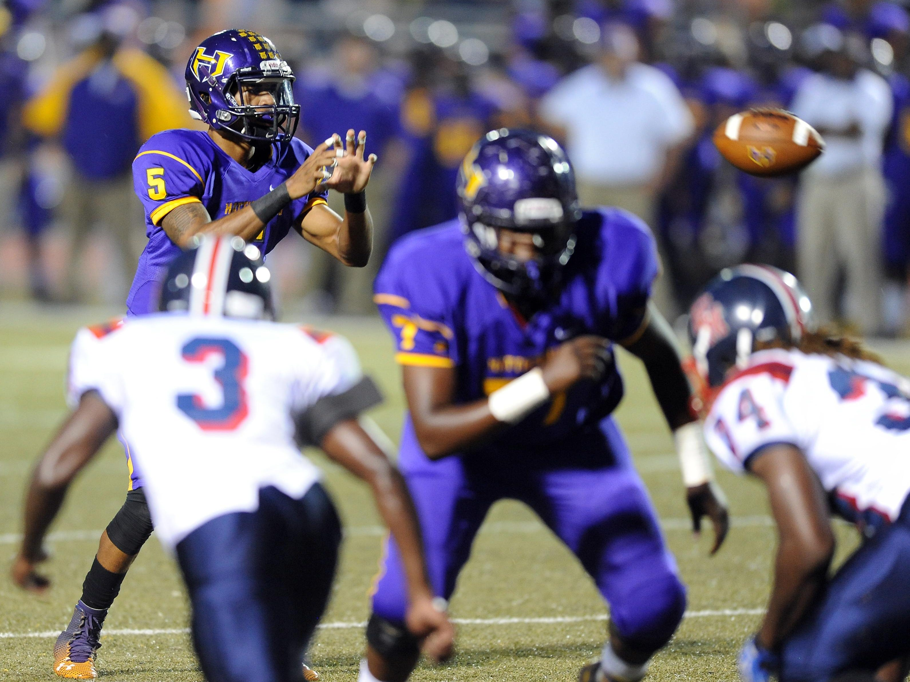 Hattiesburg quarterback Julian Conner (5) led the Tigers to a 38-0 win over East Marion on Thursday. The Tigers are 4-0 for the first time since 2012. Conner passed for 131 yards and a TD.