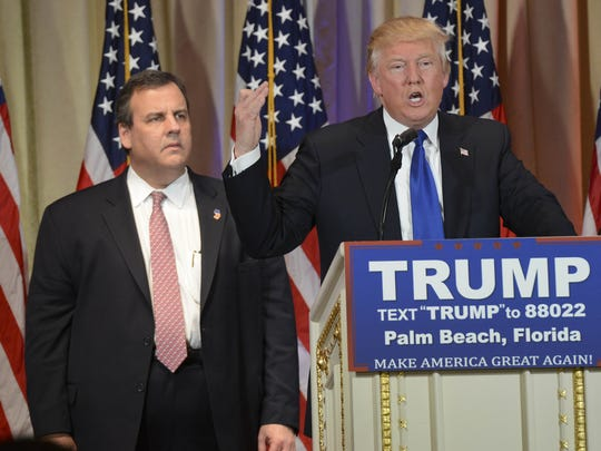 Chris Christie stands behind Donald Trump on Super