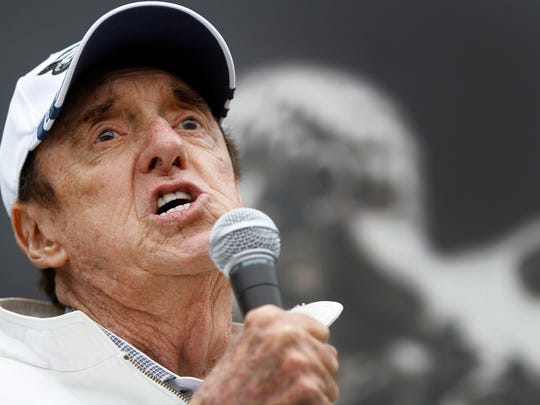 "Jim Nabors, shown singing ""Back Home Again in Indiana"" prior to the 2013 Indianapolis 500, will return for a final performance before this year's race."