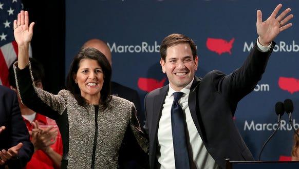 Marco Rubio and South Carolina Gov. Nikki Haley celebrate