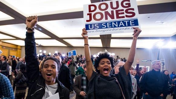 Supporters celebrate as U.S. Senate candidate Doug
