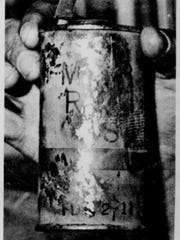 Can of pain: This canister, held by a Palm Springs police sergeant, contained tear gas until Sunday night, when it was used at Palm Springs High School stadium. Photo by Chuck Scardina appeared in the July 7, 1976, edition of The Desert Sun.