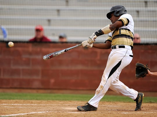 Abilene High's Terrell Franklin (1) drives in a pair