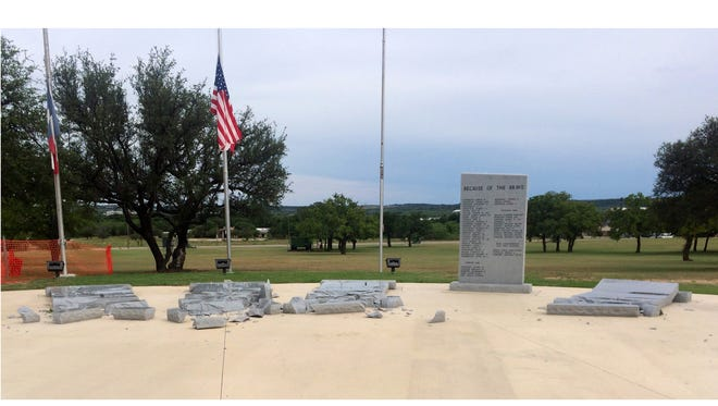 The Central Texas Veterans Memorial in Brownwood Sunday May 20, 2018. Vandalism or high winds toppled four of the monuments listing Brown County veterans who died in World War II. Monday's Memorial Day service will go on as scheduled at 11 a.m., the group behind the memorial is raising money to have new monuments carved. Visit reporternews.com for more information.