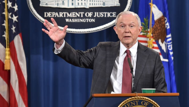 Attorney General Jeff Sessions answers questions during a press conference at the Justice Department on March 2, 2017.
