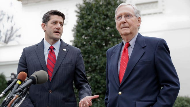 House Speaker Paul Ryan, R-Wis., left, and Senate Majority Leader Mitch McConnell, R-Ky., outside the White House