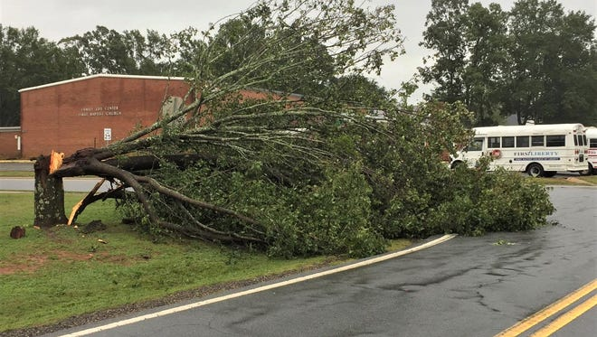 Pickens County News reader Chris Carroll submitted several pictures of day-after storm damage around Liberty, including several trees felled around the First Baptist Church of Liberty.