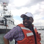 University of Southern Mississippi President Rodney Bennett tours the Point Sur from outside the research vessel recently purchased by the university. The Point Sur will begin its journey through the Panama Canal on Saturday and will complete it Sunday.