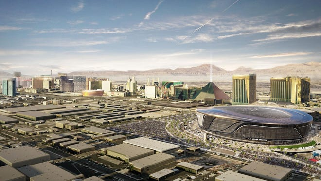 A rendering of the Raiders' new stadium and its proximity to the Las Vegas Strip.