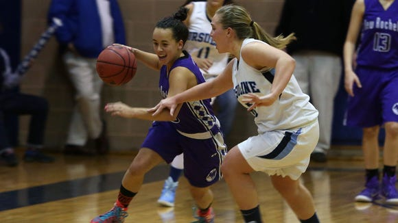 Ursuline defeated New Rochelle 53-46 in a girls basketball game at Ursuline High School in New Rochelle Jan. 21, 2015.