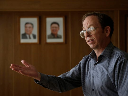 Jeffrey Fowle, an American detained in North Korea, speaks to the Associated Press, Monday, Sept. 1, 2014 in Pyongyang, North Korea. North Korea has given foreign media access to three detained Americans who called for Washington to send a representative to negotiate for their freedom.
