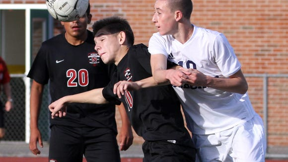 Blerim Kastrati of Nyack, left, and Ryan Noel of Byram