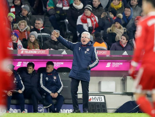 Bayern coach Jupp Heynckes gestures during the German Bundesliga soccer match between FC Bayern Munich and Hannover 96 in Munich, Germany, Saturday, Dec. 2, 2017. (AP Photo/Matthias Schrader)