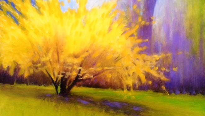 "Susan Miiller's ""Radiant Forsythia"" from the show Spring Fling put on in venues around Port Jervis, through May 25."