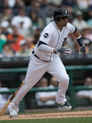Tigers DH Victor Martinez  bats during the first inning of the Tigers' 6-5 win Thursday at Comerica Park.