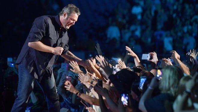 Country star Blake Shelton performs during the CMA Fest at Nissan Stadium in June 2017 in Nashville, Tenn.