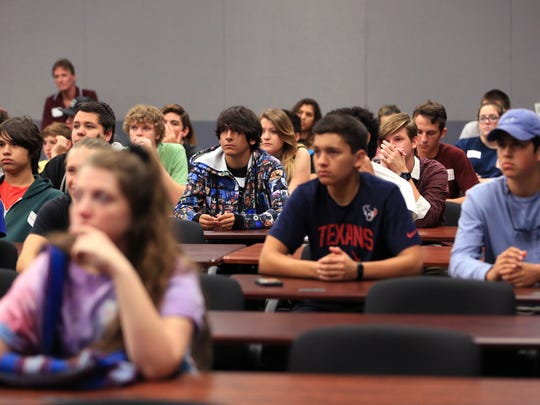Students watch a video during the Map Your Career with Geographic Information Systems event at the Del Mar College Economic Development Center on Wednesday, Nov. 16, 2016. About 800 students from across the Coastal Bend attended the event.