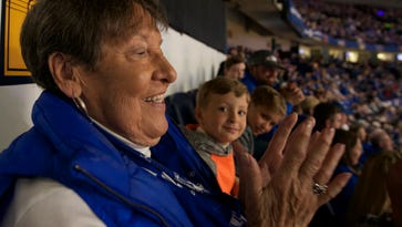 Nashville great-grandmother Peggy Hook fulfilled a lifelong dream this week, seeing her very first Kentucky basketball game in person at the 2017 SEC Men's Basketball Tournament at Bridgestone Arena Sunday, March 12, 2017 in Nashville, Tenn.