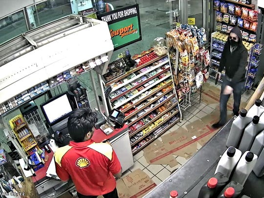 Police are looking for a suspect involved in several gas station robberies, including this one in Rockaway Township.