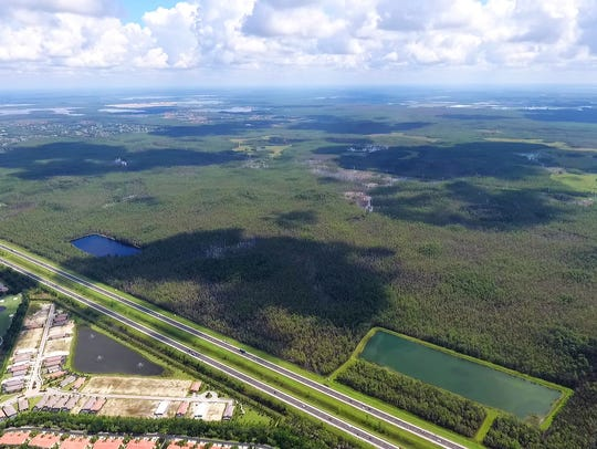 An aerial view of Edison Farms, the 3,900-acre conservation