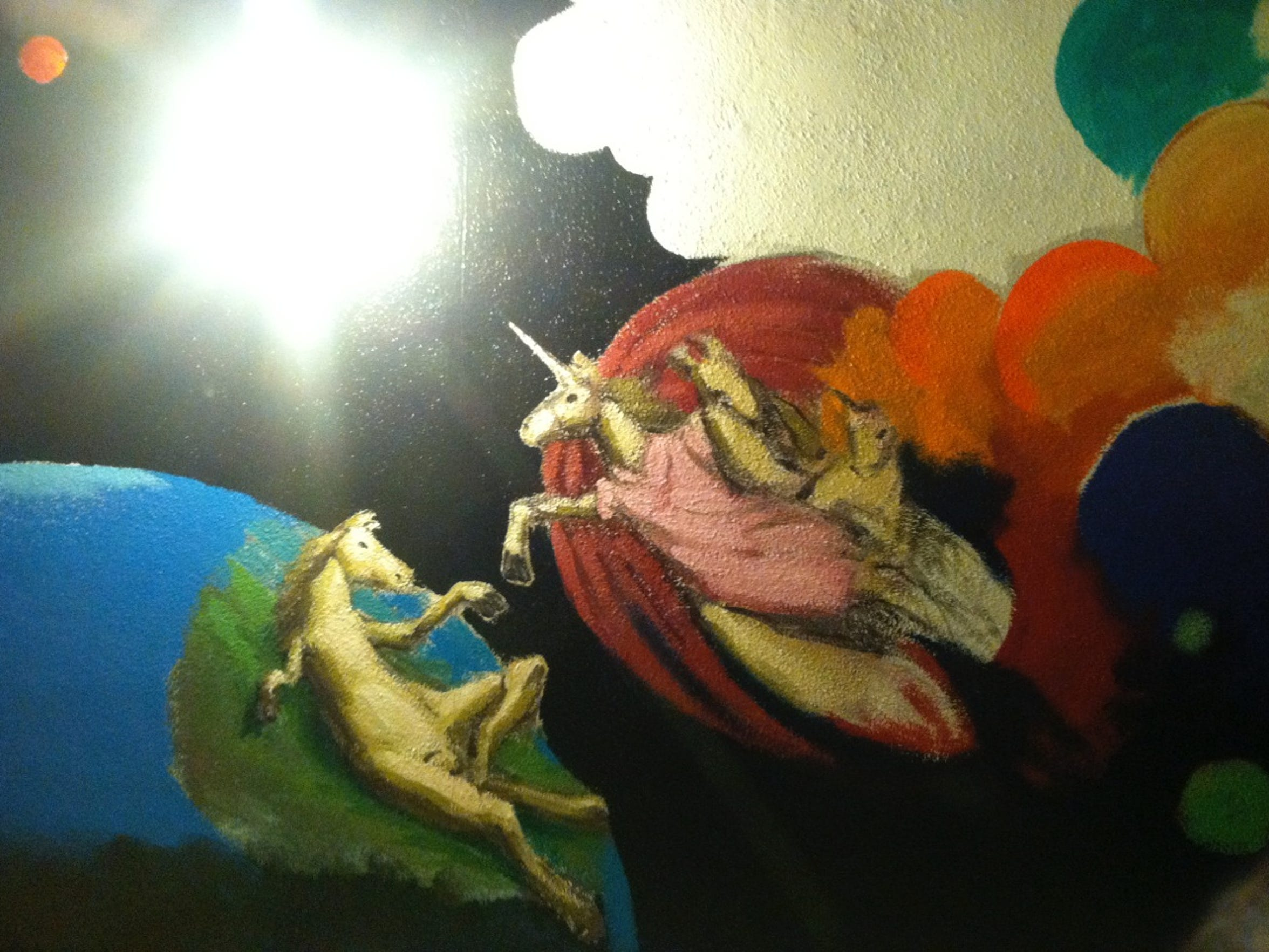 At one point, a room inside the Charles Mansion/Green House had hand-painted unicorns on the walls.