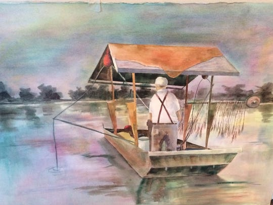 """""""Mussel Boat on Kentucky Lake,"""" watercolor by Jule McClellan. She said she and her late husband Ed owned a cabin on the lake for 20 years where homemade mussel boats were a common sight."""