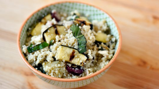 Zucchini-basil couscous salad, made with zucchini and