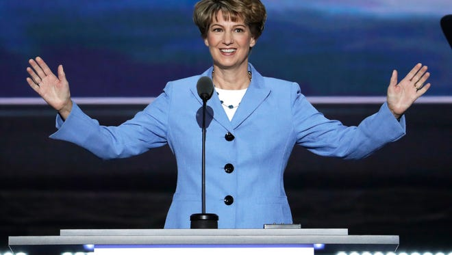 Astronaut Eileen Collins (ret) speaks during the third day of the Republican National Convention in Cleveland, Wednesday, July 20, 2016. (AP Photo/J. Scott Applewhite)