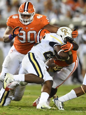 Clemson defensive lineman Dexter Lawrence (90) during the 3rd quarter at Georgia Tech's Bobby Dodd Stadium in Atlanta on Thursday, September 22, 2016 at