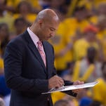 April 18, 2015; Oakland, CA, USA; New Orleans Pelicans head coach Monty Williams writes on a whiteboard during the fourth quarter in game one of the first round of the NBA Playoffs against the Golden State Warriors at Oracle Arena. The Warriors defeated the Pelicans 106-99. Mandatory Credit: Kyle Terada-USA TODAY Sports