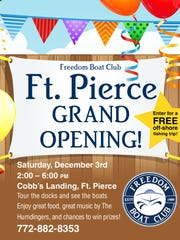 Freedom Boat Club's grand opening will be Dec. 3