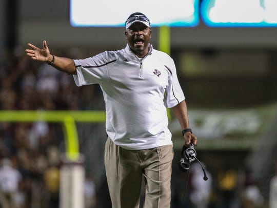 Texas A&M Aggies head coach Kevin Sumlin reacts after a play during the second quarter against the Southern Methodist Mustangs at Kyle Field on Sep. 21, 2013.