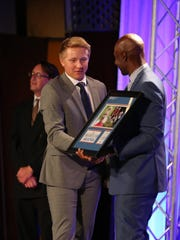 South Salem's Gabe Matthews is recognized as the Mid-Valley Boys Athlete of the Year during the Mid-Valley Sports Awards banquet on Tuesday, June 7, 2016, at the Salem Convention Center.