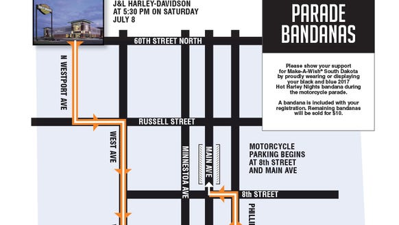 Hot Harley Nights Parade Route for July 8, 2017