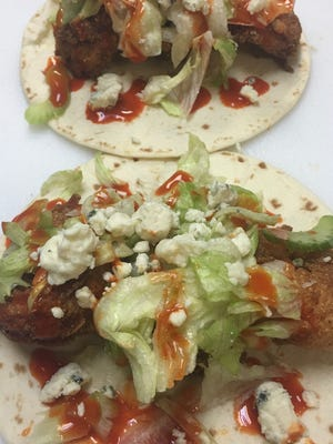 """""""It's Hard Out Here for a Shrimp"""" tacos at Tennessee Taco Company."""