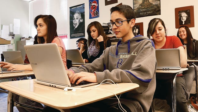 Bloomfield High School student Manuel DeHerrera prepares on March 6, 2015, to take the Partnership for Assessment of Readiness for College and Careers, or PARCC, exam.