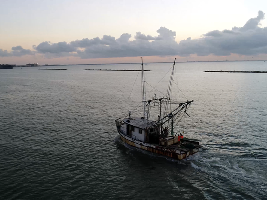 A shrimping boat in Corpus Christi Bay on Wednesday, July 19, 2017.