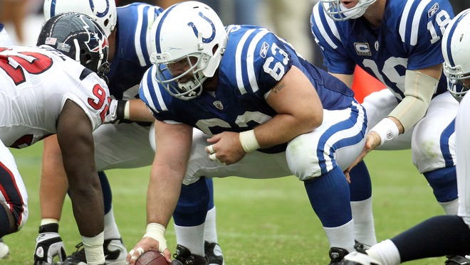 FILE -- Indianapolis Colts center Jeff Saturday (63) snaps to Peyton Manning. Saturday is a first-time Pro Football Hall of Fame nominee.