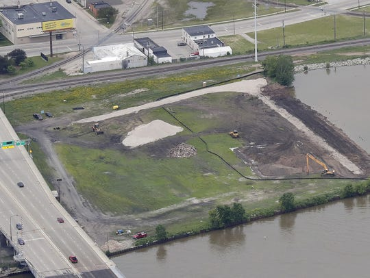 An aerial view of the proposed site of the Shipyard